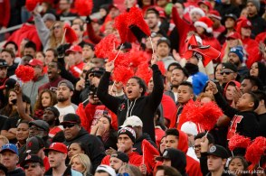 Trent Nelson | The Salt Lake Tribune Utah fans cheer in the fourth quarter as Utah faces BYU in the Royal Purple Las Vegas Bowl, NCAA football at Sam Boyd Stadium in Las Vegas, Saturday December 19, 2015.