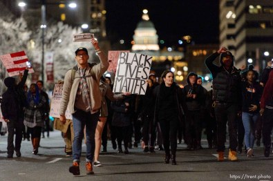 Trent Nelson   The Salt Lake Tribune Protesters march to the Public Safety Building to protest the police shooting of 17-year-old Abdi Mohamed on Saturday night, Monday February 29, 2016.