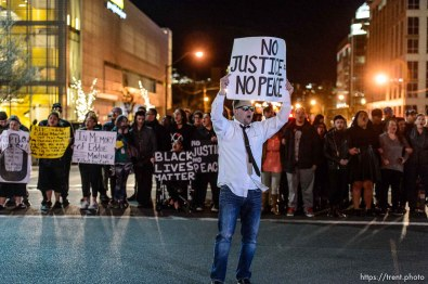 Trent Nelson   The Salt Lake Tribune Protesters occupy the intersection of 100 South State Street to protest the police shooting of 17-year-old Abdi Mohamed on Saturday night, Monday February 29, 2016.
