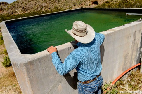 Trent Nelson   The Salt Lake Tribune Eighteen-year-old Arden Bundy at a water cistern on the range near the family ranch in Bunkerville, NV, Thursday April 14, 2016. In the wake the arrest of a half-dozen Bundy elders, Arden has been left with the responsibility to keep up with the demands of the ranch.