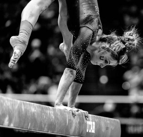 Trent Nelson | The Salt Lake Tribune Sabrina Schwab on the beam as the University of Utah hosts Michigan, NCAA gymnastics at the Huntsman Center in Salt Lake City, Saturday January 7, 2017.