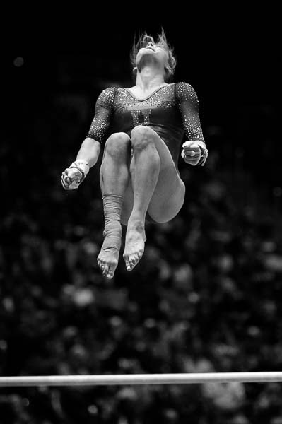 Trent Nelson | The Salt Lake Tribune Sabrina Schwab on the bars as the University of Utah hosts Michigan, NCAA gymnastics at the Huntsman Center in Salt Lake City, Saturday January 7, 2017.