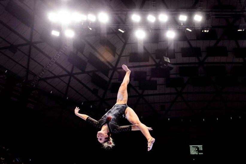 Trent Nelson | The Salt Lake Tribune Utah's MyKayla Skinner on the beam as the University of Utah hosts Cal, NCAA Gymnastics at the Huntsman Center, Saturday February 4, 2017.
