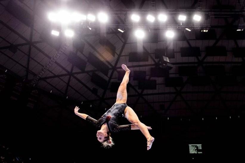 Trent Nelson | The Salt Lake Tribune Utah's MyKayla Skinner on the beam as the University of Utah hosts Cal, NCAA Gymnastics at the Huntsman Center, Saturday February 4, 2017.