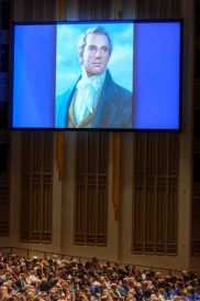 Trent Nelson   The Salt Lake Tribune A projection of Joseph Smith during the morning session of the 187th Annual General Conference at the Conference Center in Salt Lake City, Sunday April 2, 2017.