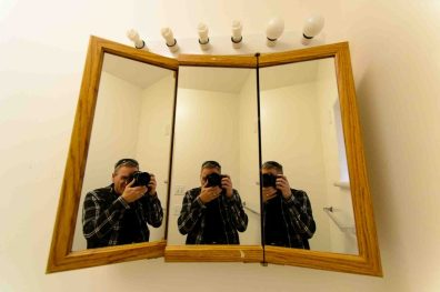 Trent Nelson | The Salt Lake Tribune Mirror, Warren Jeffs' bathroom, former home of Warren Jeffs in Hildale, Wednesday April 5, 2017.
