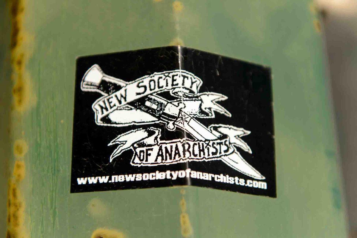 new society of anarchists sticker, Wednesday April 19, 2017.