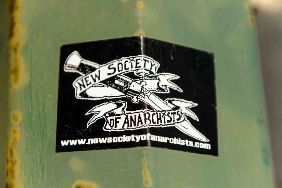 new society of anarchists sticker, Wednesday April 19, 2017.
