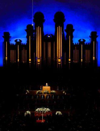 (Trent Nelson   The Salt Lake Tribune) President Russell M. Nelson speaks at funeral services for Elder Robert D. Hales at the Salt Lake Tabernacle in Salt Lake City Friday October 6, 2017.
