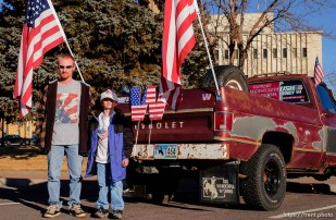 Casper - pickup truck covered with american flags.