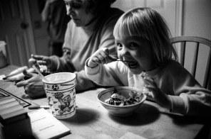 Linda Clark and Rebecca Clark eating