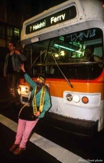 Blocking a muni bus during Anti war Gulf War protests.
