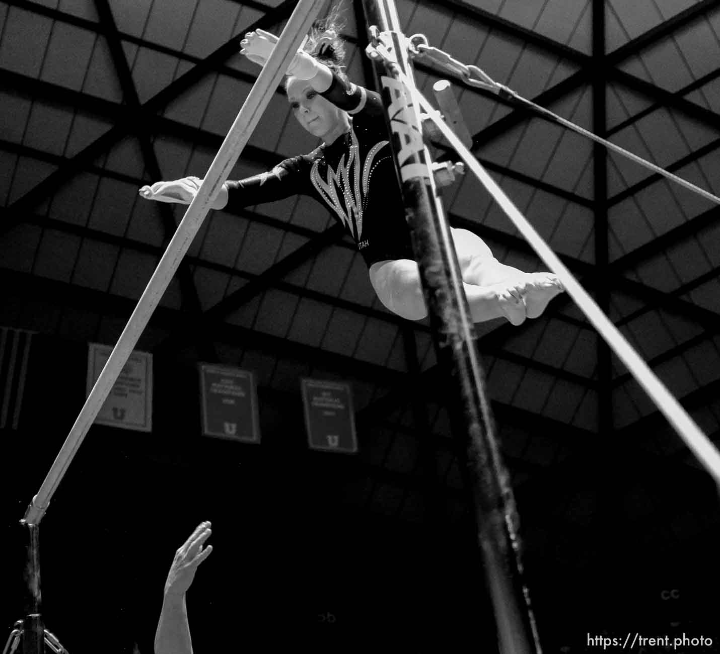 Trent Nelson   The Salt Lake Tribune Utah's Stephanie McAllister on the bars as Utah hosted BYU gymnastics Friday, January 27, 2012 in Salt Lake City, Utah.