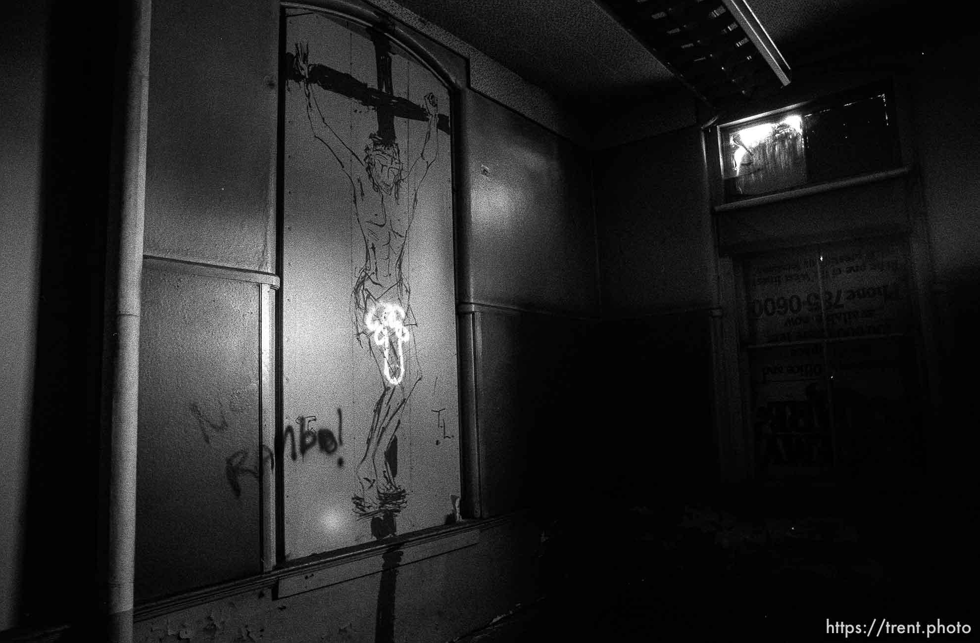 Obscene graffiti in the old Academy Building.