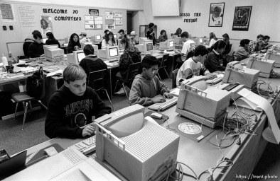 Kids in computer class.