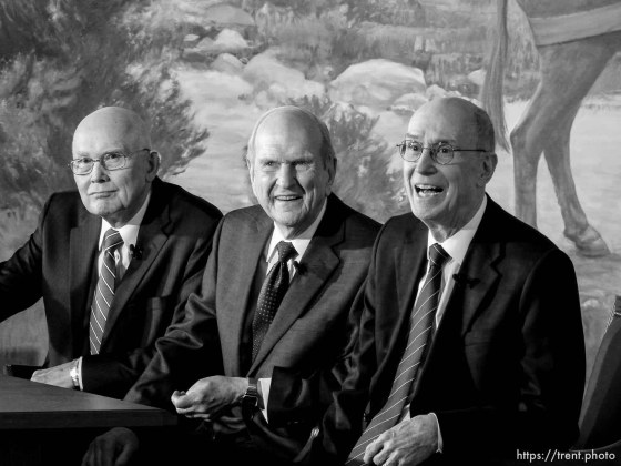 (Trent Nelson | The Salt Lake Tribune) Dallin H. Oaks, Russell M. Nelson, and Henry B. Eyring at a news conference in the lobby of the Church Office Building in Salt Lake City, Tuesday January 16, 2018. Nelson was named the 17th president of the nearly 16 million-member Church of Jesus Christ of Latter-day Saints. Oaks was named First Counselor in the First Presidency and Eyring Second Counselor in the First Presidency.