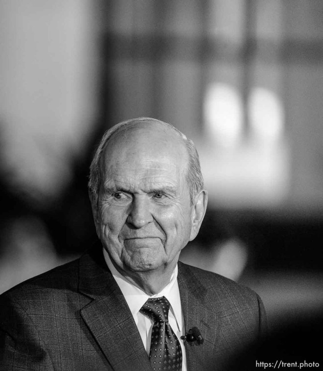 (Trent Nelson   The Salt Lake Tribune) Russell M. Nelson looks on as Dallin H. Oaks addresses members of the media at a news conference in the lobby of the Church Office Building in Salt Lake City, Tuesday January 16, 2018. Nelson was named the 17th president of the nearly 16 million-member Church of Jesus Christ of Latter-day Saints.