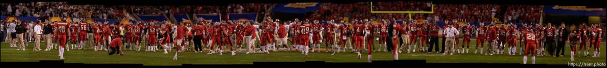 University of Utah Ute football team warming up before the Fiesta Bowl
