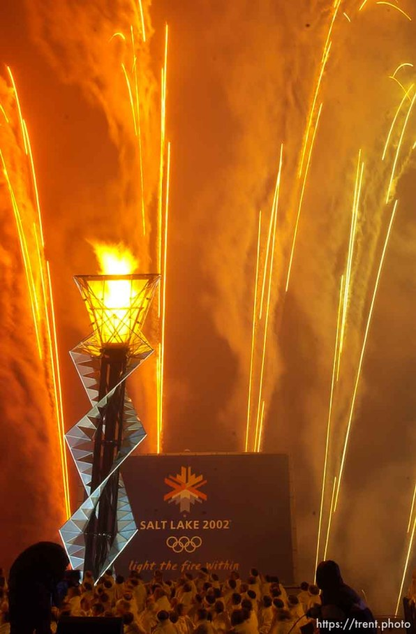 Fireworks. To celebrate the one-year anniversary of the 2002 Winter Olympics, the Olympic Cauldron at Rice-Eccles Stadium is re-lit. The flame will burn for the next 17 days. 02.08.2003, 7:24:53 PM