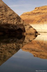 Reflections. Low water level at Lake Powell.; 02.19.2003, 11:52:15 AM