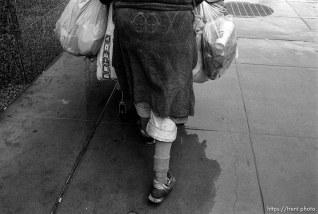 Homeless woman's feet