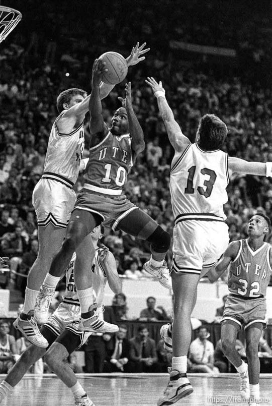 UTEP's Tim Hardaway (10) drives at BYU vs. UTEP basketball.