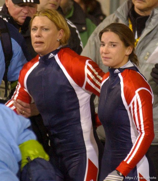 Gea Johnson and Jean Racine leave the track in disgrace. Women's Bobsled, Tuesday evening at the Utah Olympic Park, 2002 Olympic Winter Games.; 02.19.2002, 6:20:50 PM