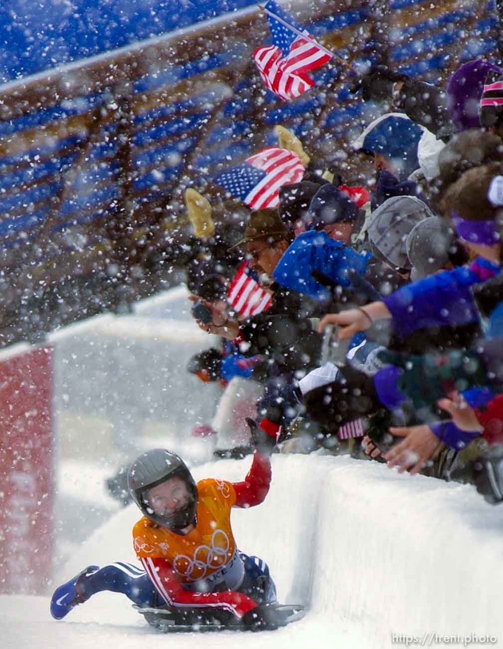 USA gold medalist, Tristan Gale. Skeleton, Wednesday morning at the Utah Olympic Park, 2002 Olympic Winter Games.; 02.20.2002, 11:56:42 AM