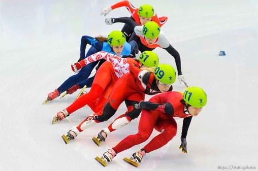 Ladies' 1500m, Short Track Speed Skating, at the XXI Olympic Winter Games in Vancouver, Saturday, February 20, 2010. heat 1 Sun Linlin (China, 111), Tania Vicent (Canada, 109), Nina Evteeva (151), Kimberly Derrick (USA, 154), Veronika Windisch (102), Patrycja Maliszewska (148)