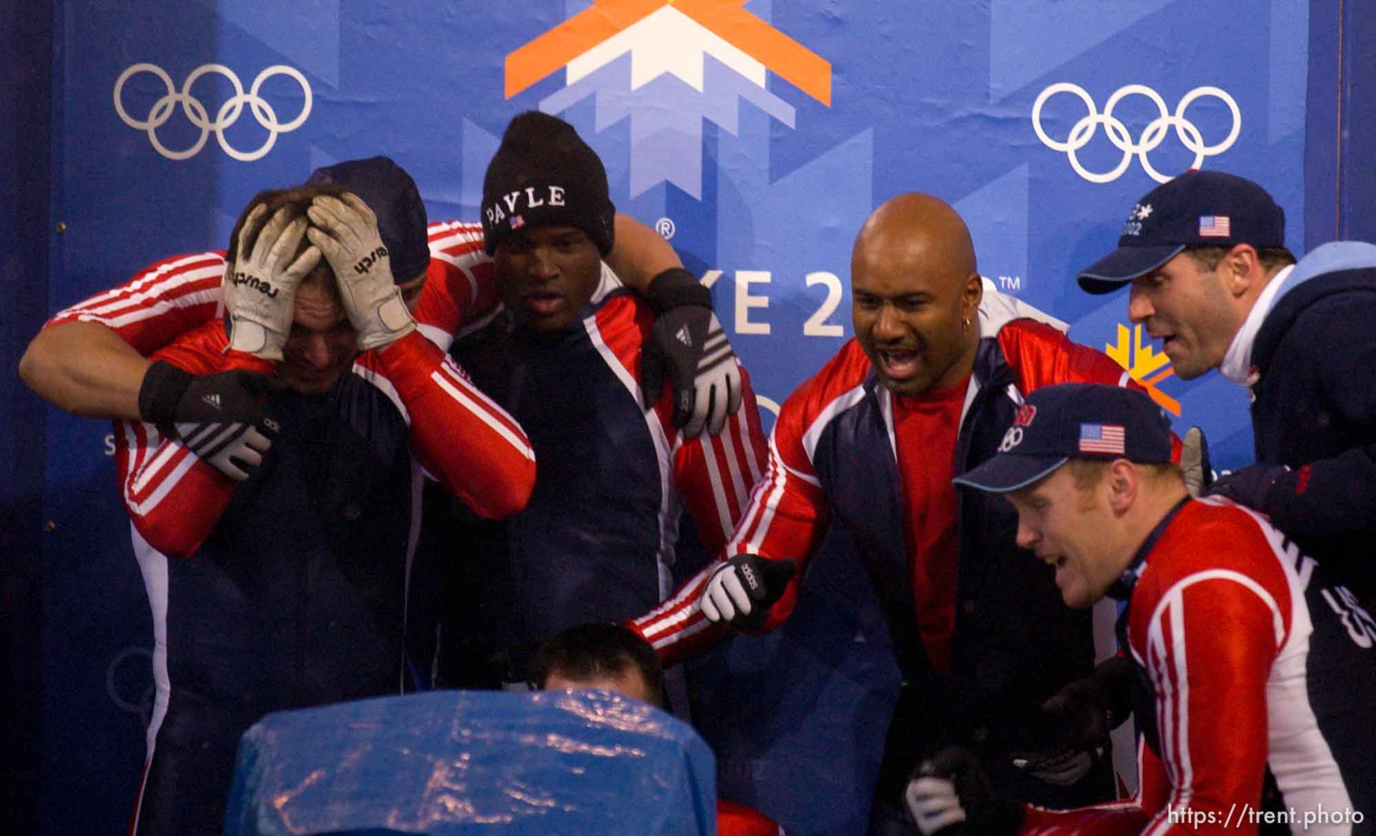 Four-Man Bobsled competition, Saturday afternoon at the Utah Olympic Park, 2002 Olympic Winter Games.; 02.23.2002, 5:50:55 PM
