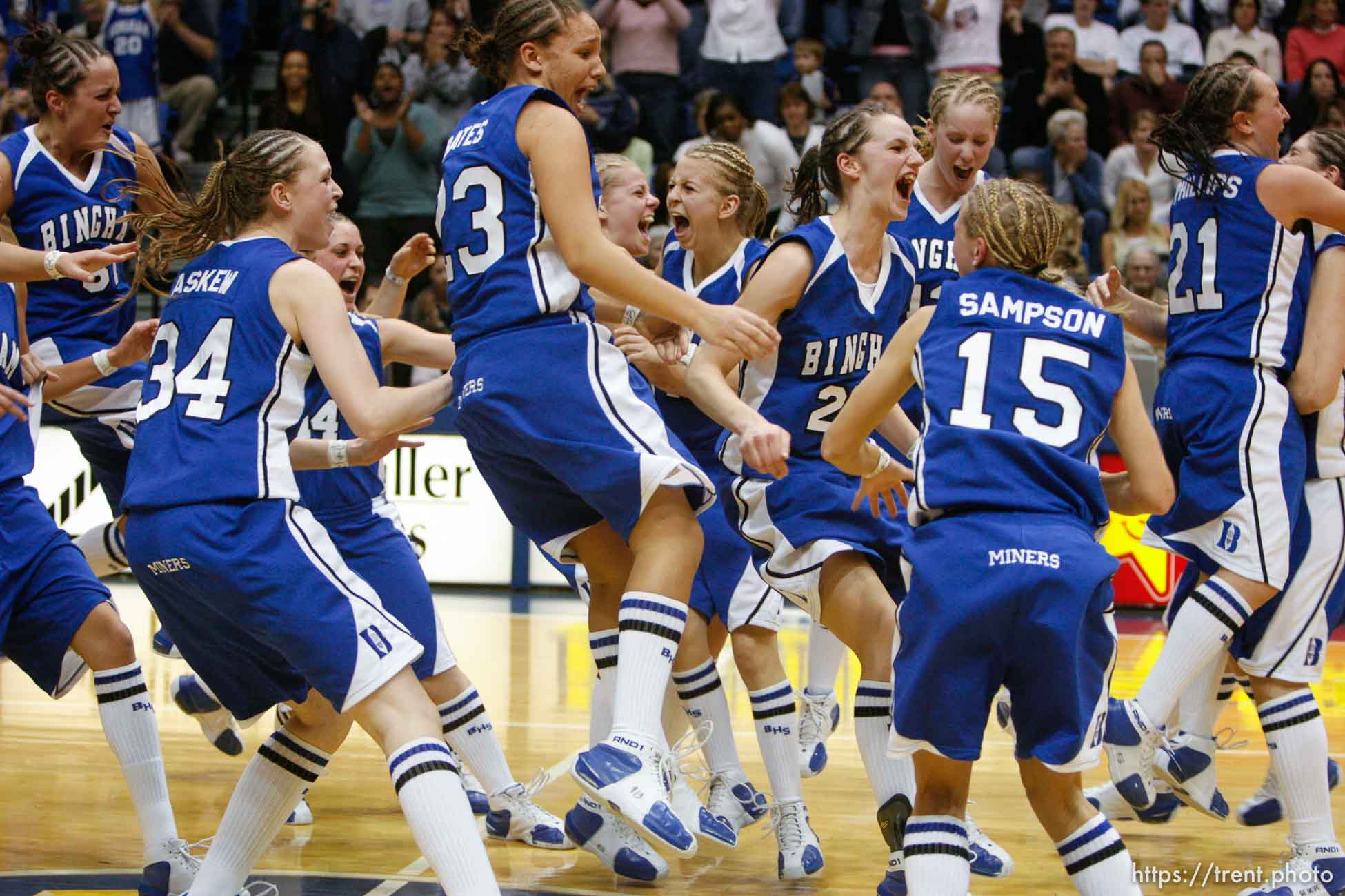 Bingham players run onto the court as time runs out and Bingham wins the state championship. Taylorsville - Bingham wins the state championship. Bingham vs. Skyline High School, 5A Girls State Basketball Championship game at Salt Lake Community College.