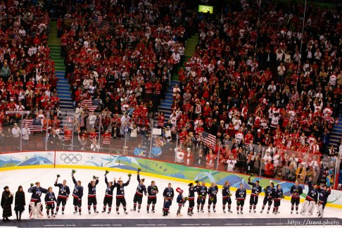Trent Nelson | The Salt Lake Tribune Silver medal-winning Team USA receives an ovation from the fans. Canada defeats Team USA in the gold medal game, women's Ice Hockey at the Canada Hockey Place, Vancouver, XXI Olympic Winter Games, Thursday, February 25, 2010.