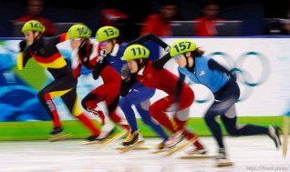Trent Nelson | The Salt Lake Tribune Women's 1000 m Quarterfinals, Short Track Speed Skating at the Pacific Coliseum Vancouver, XXI Olympic Winter Games, Friday, February 26, 2010. Aika Klein (120), Tania Vicent (109), Cho Ha-Ri (137), Sun Linlin (111), Katherine Reutter (157)