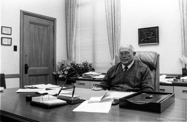 Man in office at Geneva Steel.