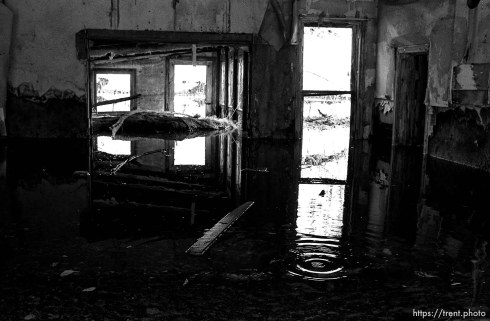 Flooded old homes in Thistle.