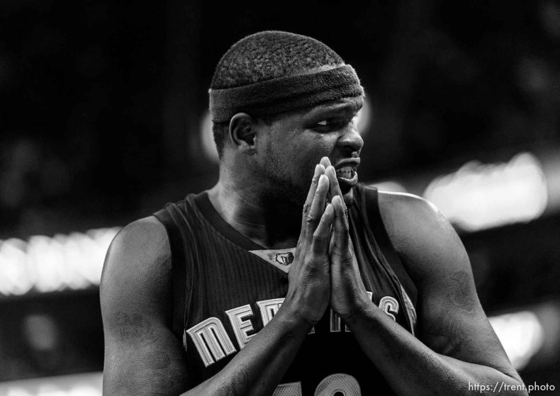 Trent Nelson | The Salt Lake Tribune Memphis Grizzlies forward Zach Randolph (50) looks for mercy from an official as the Utah Jazz host the Memphis Grizzlies, NBA basketball at EnergySolutions Arena in Salt Lake City, Wednesday February 4, 2015.