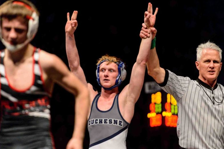Trent Nelson | The Salt Lake Tribune David Vantassell, Duchesne, celebrates his win over Stetson Wright, Milford in the 1A 113 championship match at the Class 3A, 2A and 1A high school wrestling tournament at the UCCU Center in Orem, Saturday February 13, 2016.