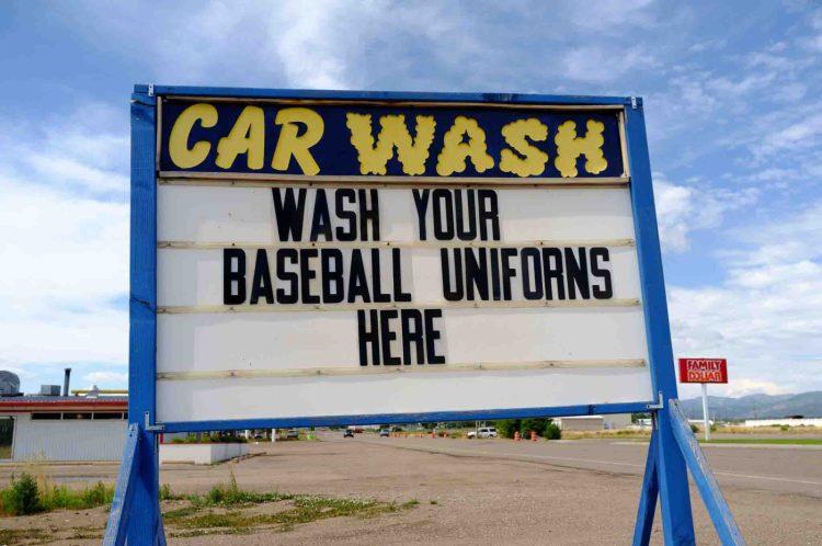 car wash- wash your baseball uniforms (uniforns) here, Friday July 1, 2016.