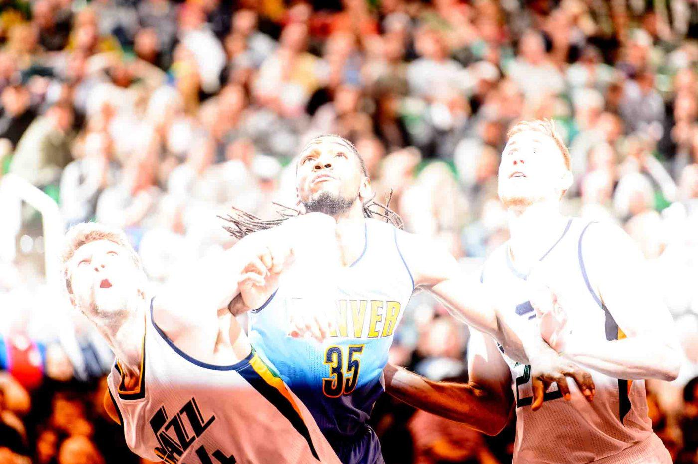 Trent Nelson | The Salt Lake Tribune Utah Jazz center Jeff Withey (24) Denver Nuggets forward Kenneth Faried (35) Utah Jazz forward Gordon Hayward (20) as the Utah Jazz host the Denver Nuggets in Salt Lake City, Wednesday November 23, 2016.