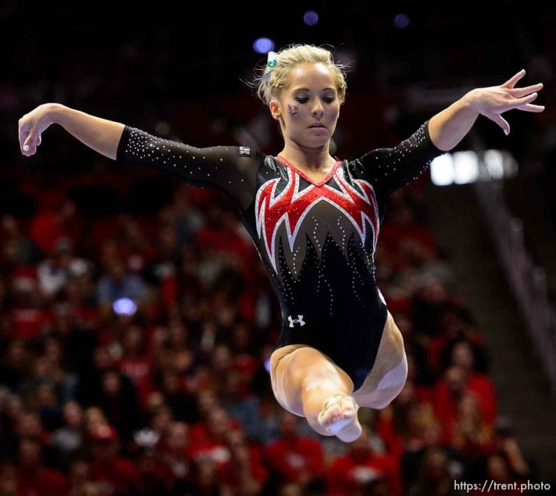 (Trent Nelson   The Salt Lake Tribune) MyKayla Skinner on beam as Utah hosts Washington, NCAA gymnastics in Salt Lake City, Saturday February 3, 2018.