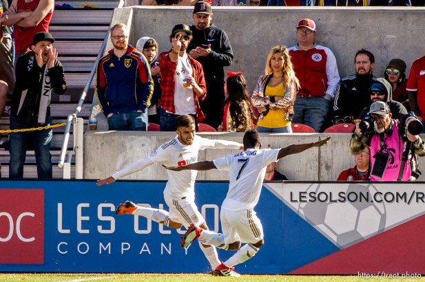Los Angeles FC forward Diego Rossi (9) and Los Angeles FC forward Latif Blessing (7) celebrate Rossi's goal.