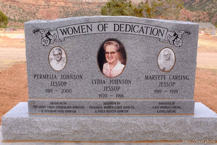 Women of Dedication. Permilia Johnson Jessop, Lydia Johnson Jessop, Maryett Carling Jessop. Isaac W. Carling Memorial Park, Colorado City, Friday March 16, 2018.