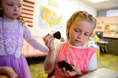 (Trent Nelson | The Salt Lake Tribune) A princess party was thrown for several young FLDS girls in Colorado City, Ariz., Friday March 16, 2018, as a reward for reading books. Lolly, Kathy Bistline.