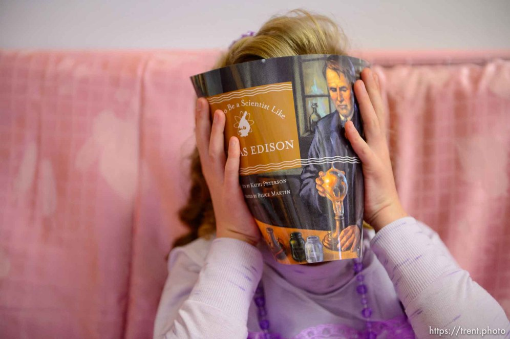 (Trent Nelson | The Salt Lake Tribune) A princess party was thrown for several young FLDS girls in Colorado City, Ariz., Friday March 16, 2018, as a reward for reading books. Lolly Bistline.