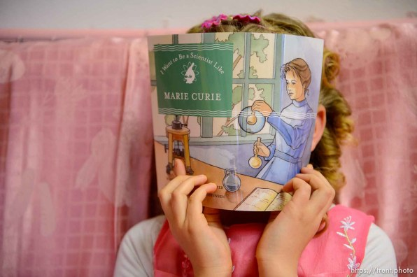 (Trent Nelson | The Salt Lake Tribune) A princess party was thrown for several young FLDS girls in Colorado City, Ariz., Friday March 16, 2018, as a reward for reading books. Kathy Bistline.
