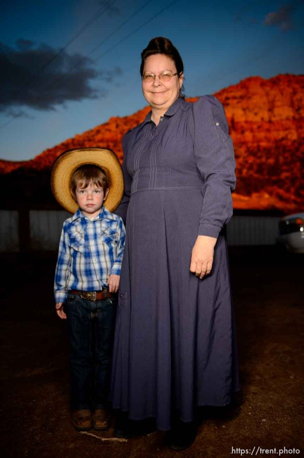 (Trent Nelson | The Salt Lake Tribune) A princess party was thrown for several young FLDS girls in Colorado City, Ariz., Friday March 16, 2018, as a reward for reading books. Before the party, Luke and Esther posed for a portrait.