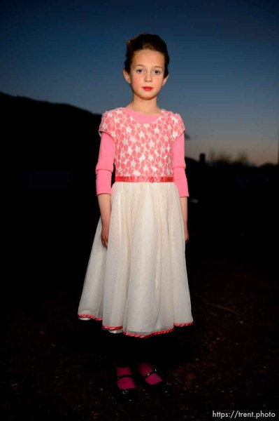 (Trent Nelson | The Salt Lake Tribune) A princess party was thrown for several young FLDS girls in Colorado City, Ariz., Friday March 16, 2018, as a reward for reading books. Before the party, a portrait.