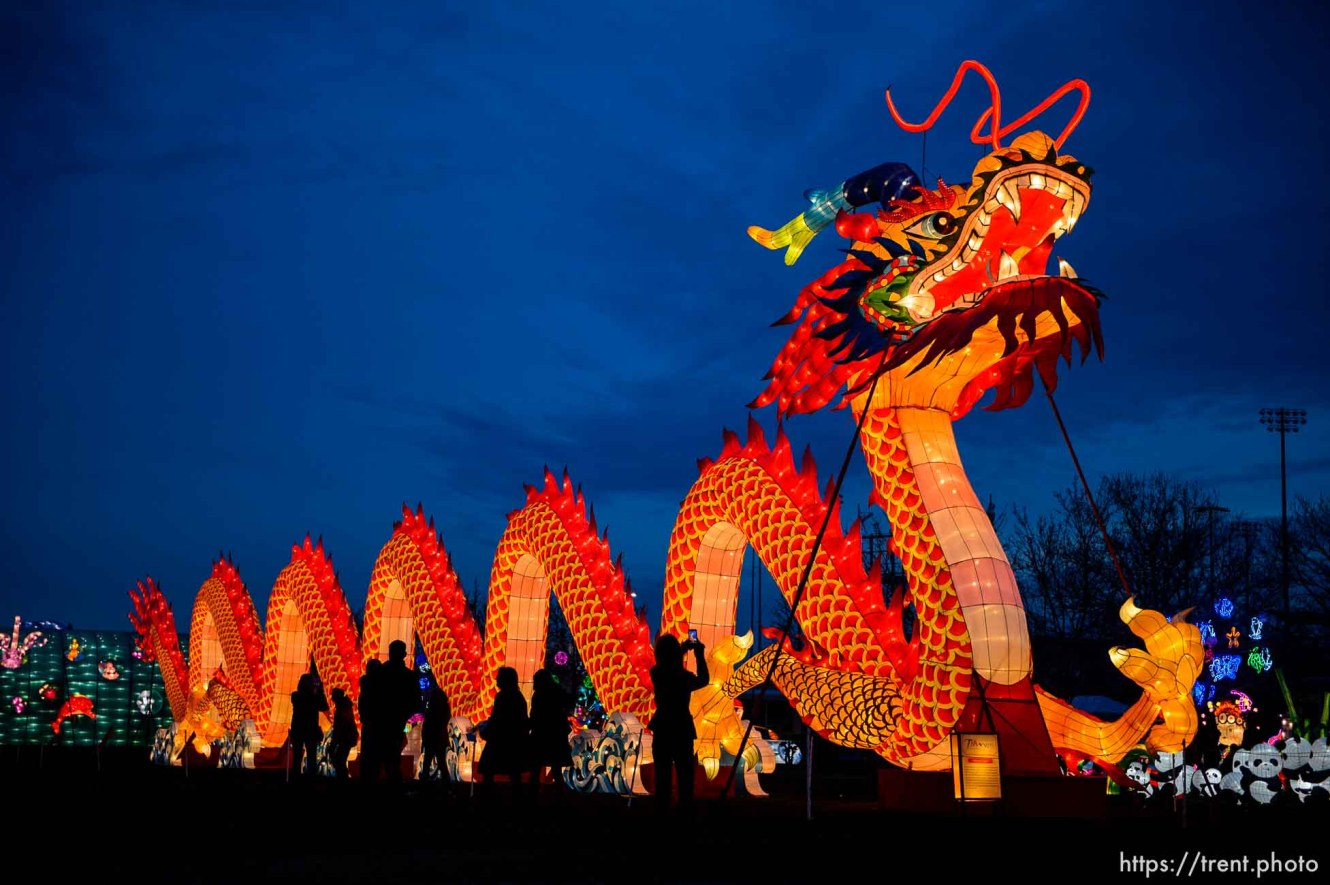(Trent Nelson | The Salt Lake Tribune) Dragon Lights SLC, part of the China Lights touring festival, opens on March 23 and continues through May 6 at the Utah State Fairpark. This international cultural experience includes 39 custom-built illuminated exhibits, traditional Chinese handicrafts, dance and acrobatic performances, and a variety of Chinese food and traditional fair food and beverages. Dragon Lights SLC provides an opportunity for the community to explore the ancient culture of China while learning about China today. Wednesday March 21, 2018.