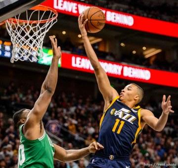 (Trent Nelson | The Salt Lake Tribune) Utah Jazz vs. Boston Celtics, NBA basketball in Salt Lake City, Wednesday March 28, 2018. Utah Jazz guard Dante Exum (11).