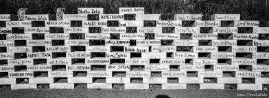 Bricks memorializing the 1,500 missing men of Djakovica.